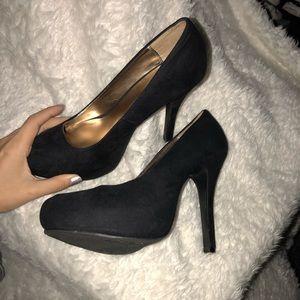Black suede heel